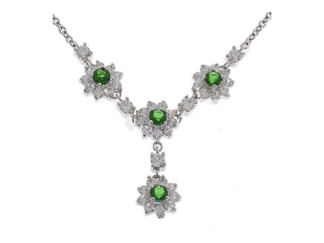 Flower Emerald Diamond Pendant Necklace