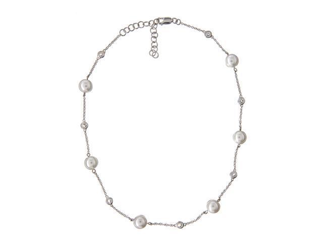 Classic Imitation Pearl Round C.Z. Diamond Stationed Necklace