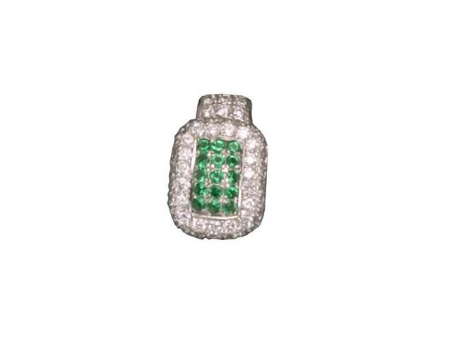 C.Z. And Emerald Rhodium Plated (.925) S/S Pendent