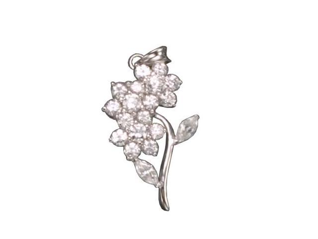 C.Z. Flower  Rhodium Plated (.925) S/S Pendent