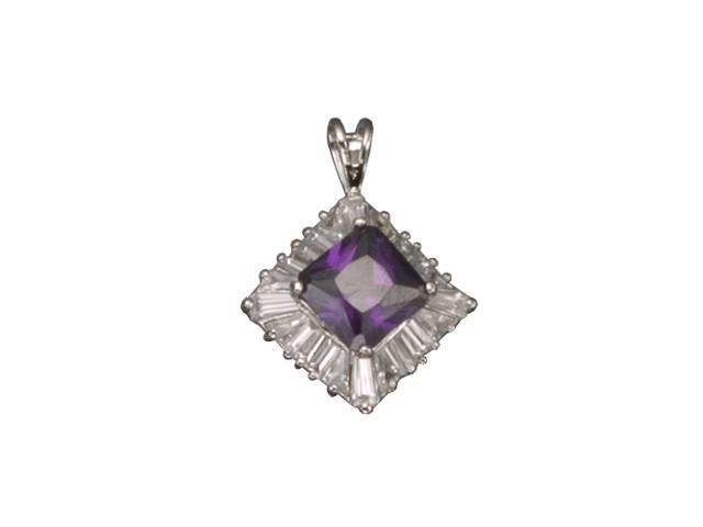 C.Z.  Baguette Amethyst Square Rhodium Plated (.925) S/S Pendent