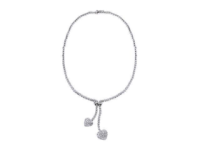 C.Z. Pave Diamond Silver Drop Lariat Sweetheart Necklace