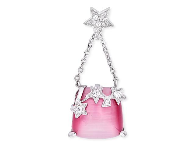 Twinkle C.Z. Stars Square Pink Mother-Of-Pearl Dangling Pendant
