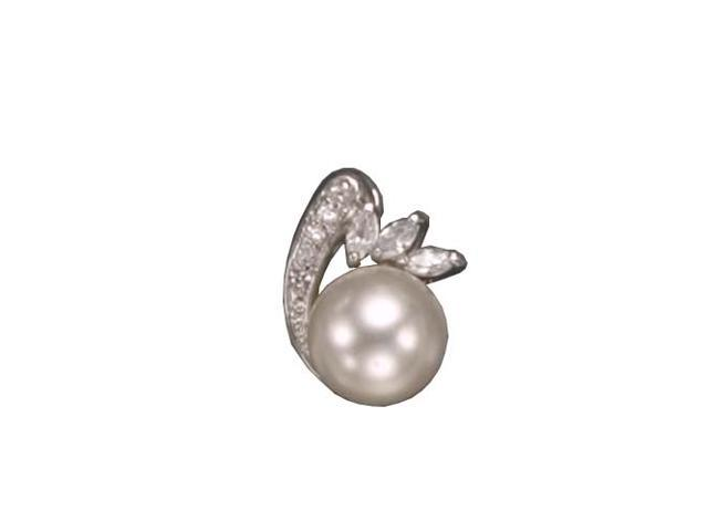 C.Z. And Pearl Rhodium Plated (.925) S/S Pendent
