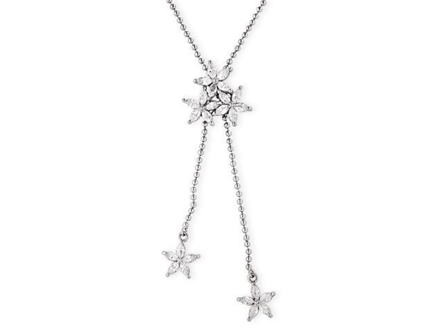 Marquise-Cut Cubic Zirconia Diamond Floral Lariat Silver Bead Necklace