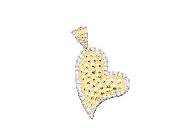C.Z. (925) S/S Hammered Heart Pendant