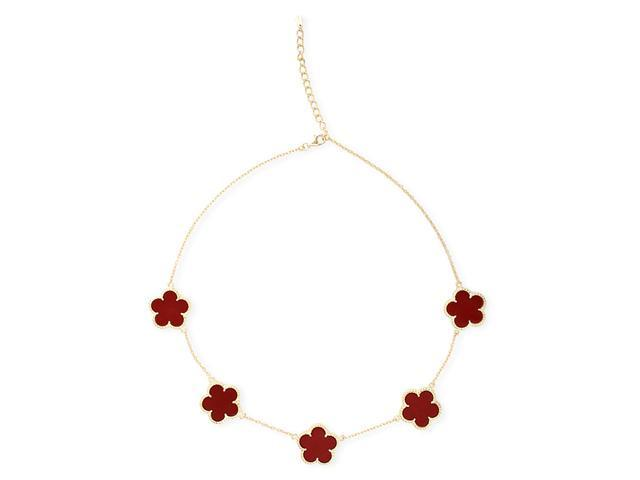 Simulated Coral Gold Plated Designer Style 5 Flower Necklace
