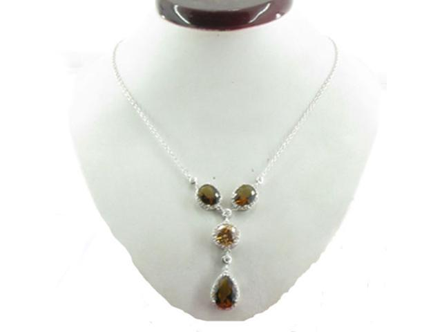 C.Z. (.925) S/S Champ And Smoky Topaz Rhodium Plated Necklace