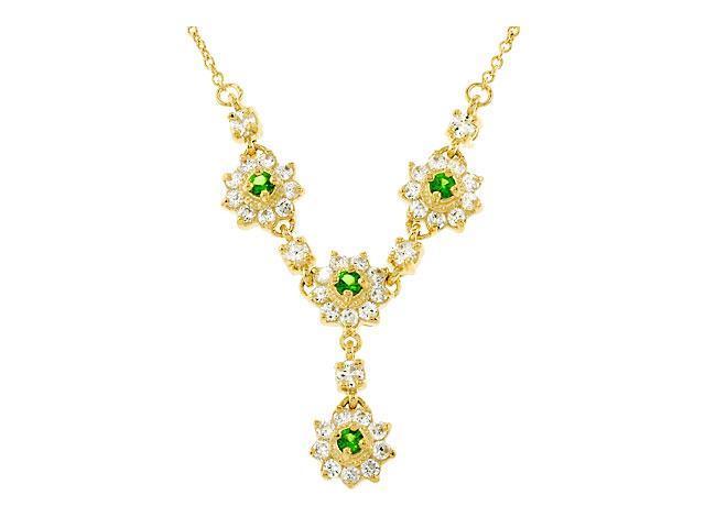 Flower Emerald Diamond Gold Vermeil Pendant Necklace