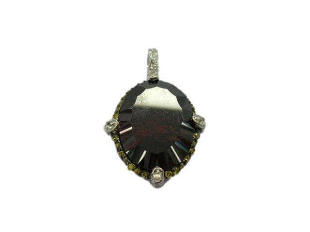C.Z. (.925) S/S Coffee On Yellow Citrine Oval Rhodium Plated Pendant