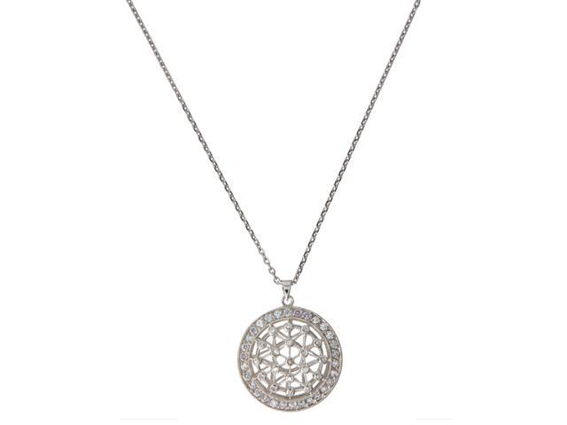 C.Z. Round Star Shape With Heavy Border Set With Shimmering C.Z. S/S Pendent