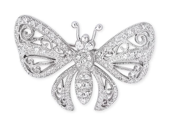 Filigree C.Z. Diamond S/S Butterfly Brooch