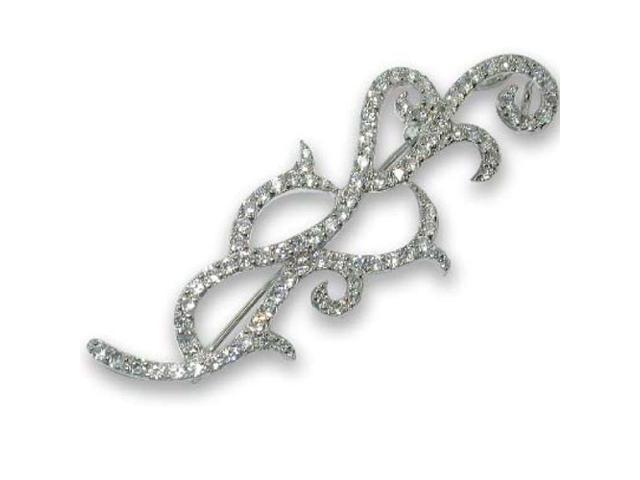 C.Z. (.925) S/S Outline Rhodium Plated Pin