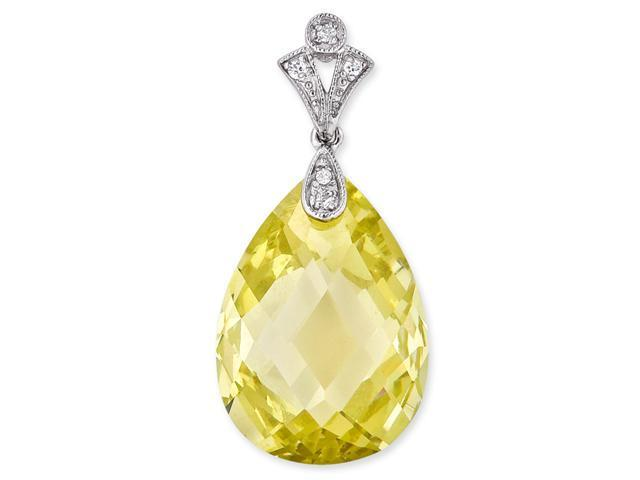 Simulated Yellow Briolette With S/S And C.Z. Pendent