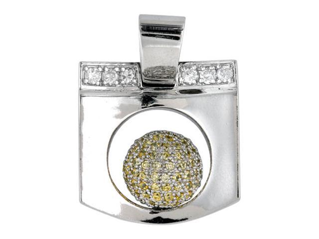 C.Z. (.925) S/S Square Yellow Ball Rhodium Plated Pendant