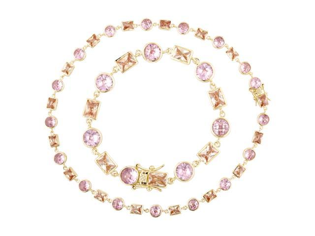 Geometric Cz Champagne And Pink Necklace And Bracelet Set