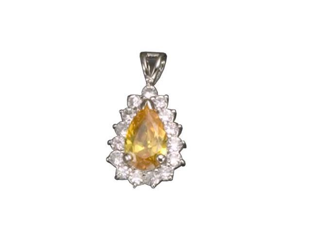 C.Z. And Yellow Citrine  Rhodium Plated (.925) S/S Pendent