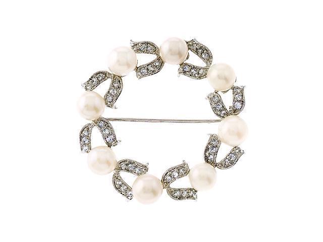 Circle C.Z. Diamond Faux Pearl Wreath Brooch