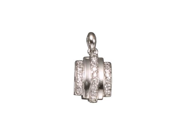 C.Z.  Rhodium Plated (.925) S/S Pendent