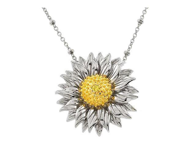 Lovely Sunflower C.Z. Silver Pendant
