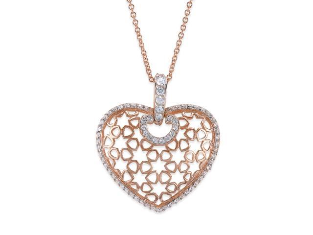 C.Z. Puffed Heart Fashion Rose Plated (.925) S/S Pendant