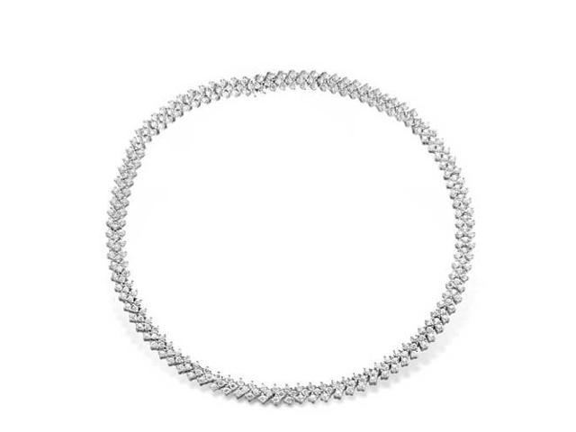 C.Z. Bridal Three Row Prong Set Tennis S/S Necklace