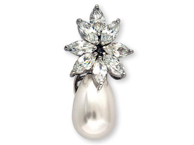 Marquise C.Z. Diamond Flower Faux Pearl Drop Pendant