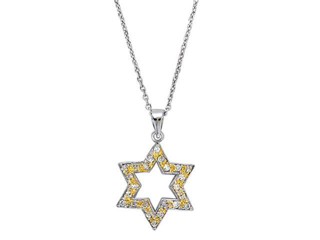 C.Z. (.925) S/S Yellow Star Of David Rhodium Plated Pendent