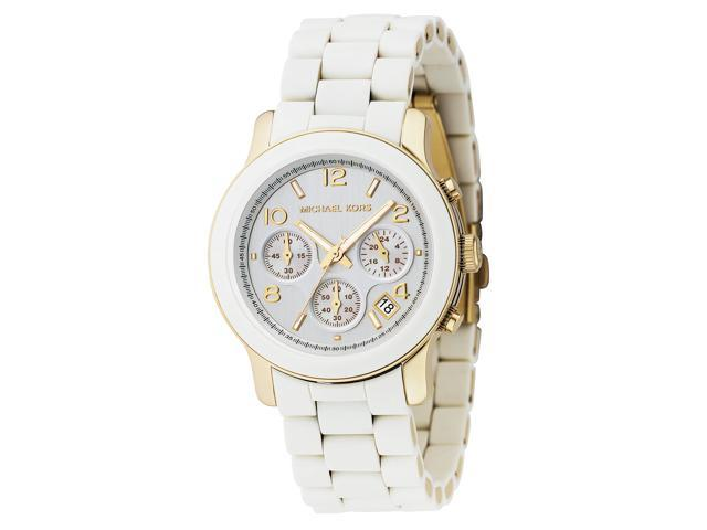 Michael Kors Silver Dial White Polyurethane Ladies Watch 5145