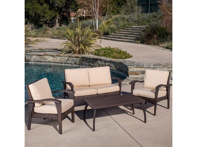 Christopher Knight Home Honolulu Outdoor 4pc Brown Wicker Seating Set With  Cushions
