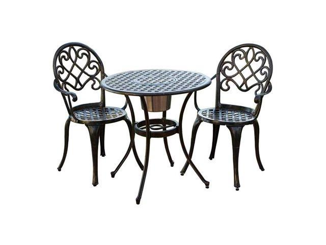 Christopher Knight Home Angeles 3-Piece Bistro Set with Ice Bucket - Copper