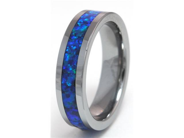 8mm Precious Opal Tungsten Ring with a Brilliant Display Dark Blue Fire