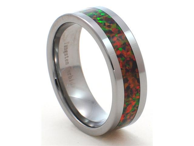 8mm Precious Opal Tungsten Carbide Ring with Red Inlays that flashes with Orange, Red, and Slight Green Fire