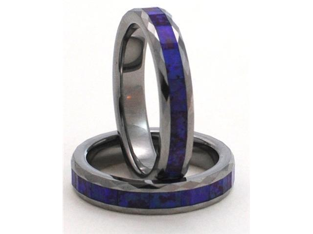 4mm Faceted Precious Opal Tungsten Carbide Ring with a Blue Opal Inlay that has a purple hue hidden in its matrix