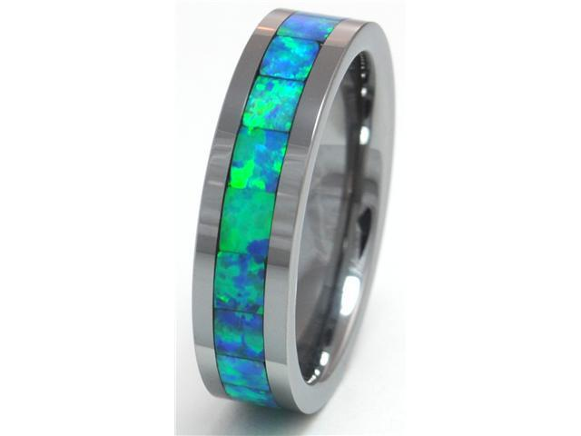 6mm Precious Opal Tungsten Carbide Ring with Blue and Slight Green Flash Inlays