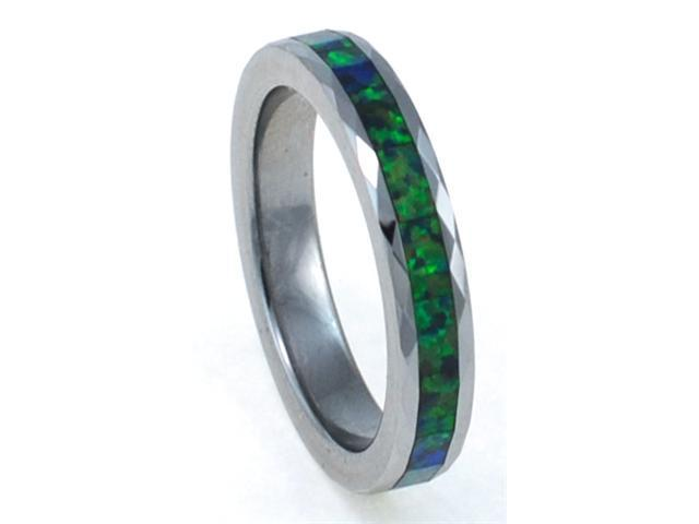 4mm Faceted Precious Opal Tungsten Ring with a Brilliant Display Multi Color Fire (Yellow Green)