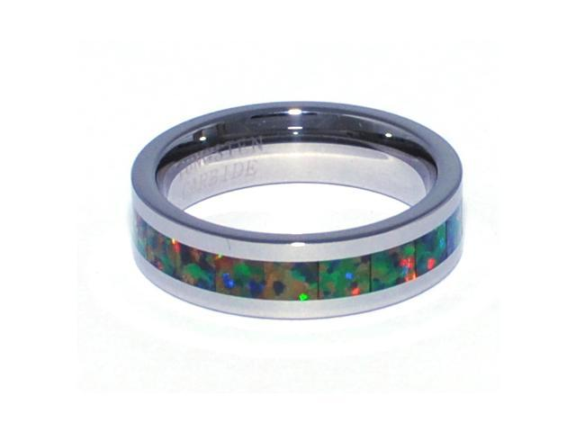 "6mm Precious Opal Tungsten Ring Similiar to ""Traidtional Black Opal"" All Fire Opal Colors"