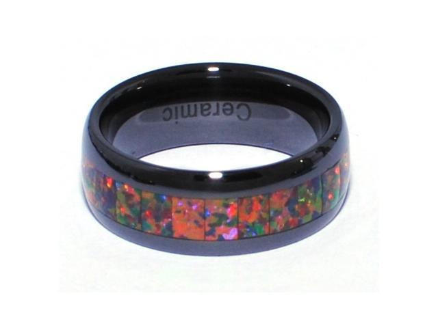 8mm Precious Opal Black Ceramic Ring with Red Inlays That Flashes with Orange, Red, and Slight Green Fire