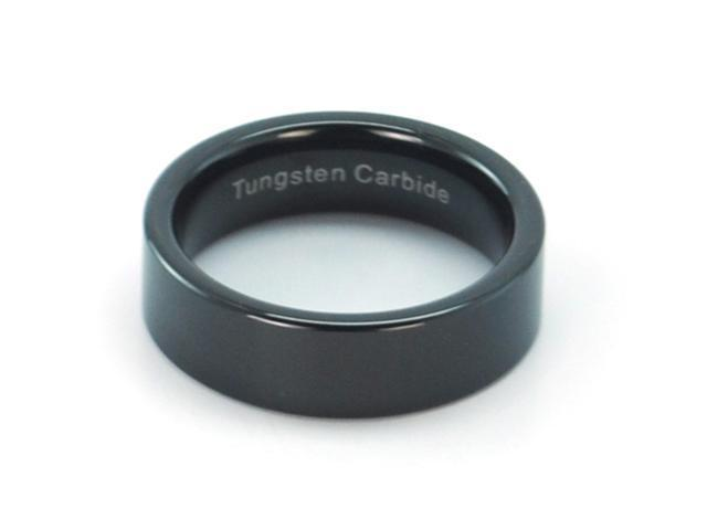 7mm Polished Finish Pipe Cut Black Tungsten Carbide Ring