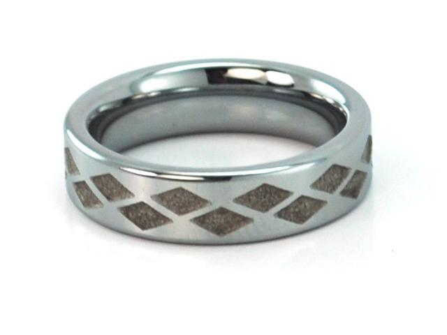 6mm wide, tungsten carbide ring with diamond shaped cuts, unique