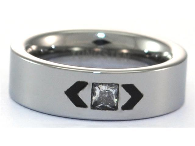 6mm Polished Tungsten Carbide Ring with CZ Inlay and Black Highlights