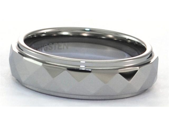 6mm Tungsten Carbide Ring with Facets