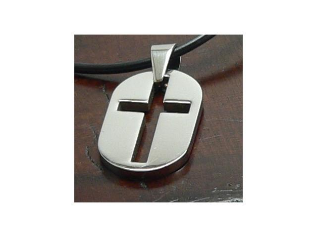 Stainless Steel Cross Pendant One side brushed other polished