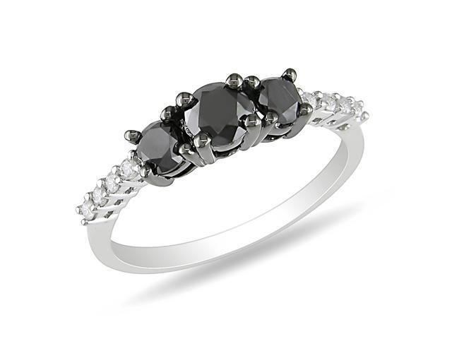 Sterling Silver 1 Carat T.W. 3-Stone Black and White Diamond Ring