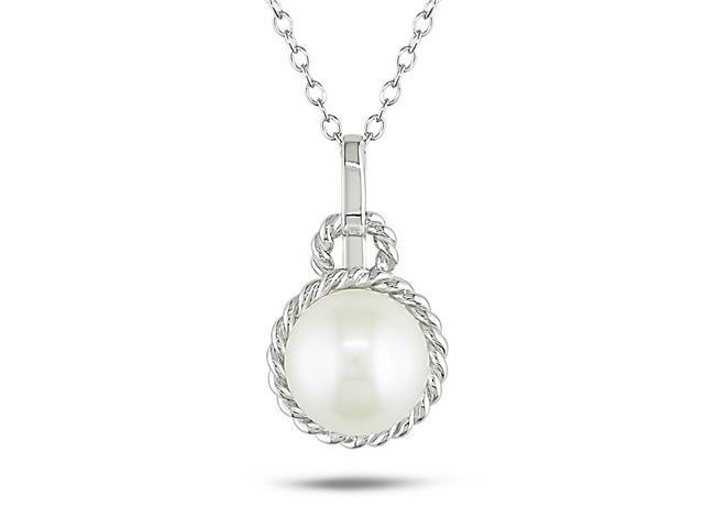 8.5 - 9 mm White Freshwater Pearl Fashion Silver Pendant With Chain