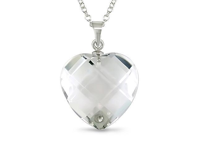 Sterling Silver Crystal Heart Pendant