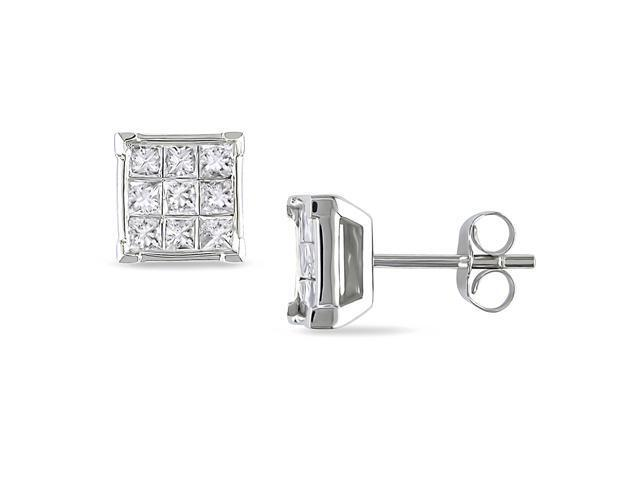 10k Gold 1/2ct TDW Princess-Cut Diamond Earrings