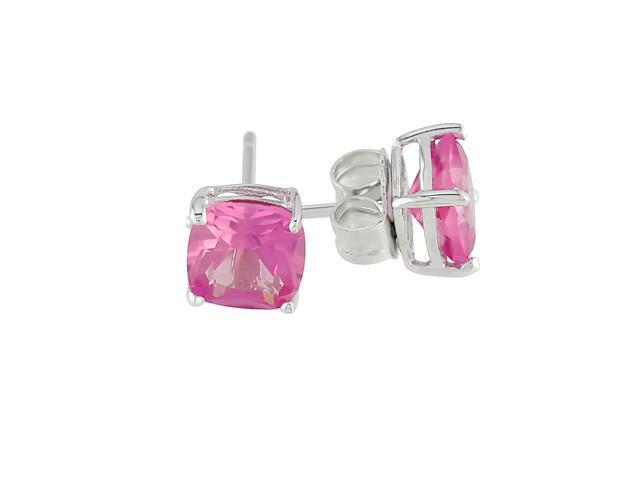2-1/2ct TGW 6mm Cushion Created Pink Sapphire Silver Solitaire Earrings