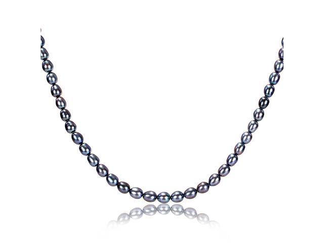 "18"" 5-5.5mm FW Rice Black Pearl Necklace with Silvertone Clasp"