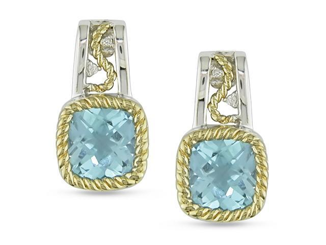 5 ct. Sky Blue Topaz and Diamond Accent Earrings in Silver and 10k Yellow Gold, GHI, I3